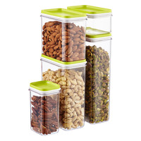Narrow Stacking Containers with Lime Lids