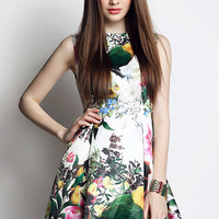 Multicolor Parrot and Floral Print Sleeveless A-Line Mini Skater Dress