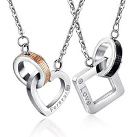 Chain Heart Love Necklaces for Couples Stainless Steel Mens & Ladies Fashion Trendy Tiff Paired Suspension Pendants Model