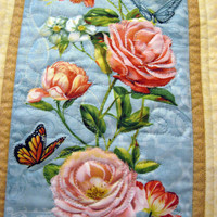 Shabby Chic quilted wall hangings Song Birds Butterflies and Roses set of 2