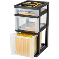 IRIS 3-Drawer File Storage Cart with Organizer Top, Black - Walmart.com