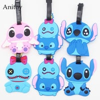 Cute stitch creative silicone luggage tag pendants hang tags checked brand tourist products KT2708
