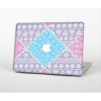 The Squared Pink & Blue Textile Patterns Skin Set for the Apple MacBook Air 13""