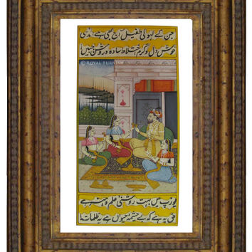 Indian Classical Miniature Painting On Paper Featuring Mughal Love Life