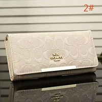 COACH Women Fashion New Pattern Print Leather Purse Wallet Handbag Beige