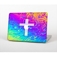 "The Vector White Cross v2 over Neon Color Fushion V2 Skin Set for the Apple MacBook Pro 13"" with Retina Display"