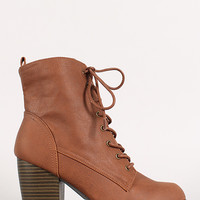 Lace Up Chunky Stacked Heel Bootie