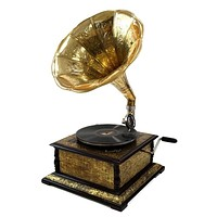 Gramophone Brass Etching Square By Benzara