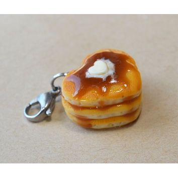 Heart Pancake Stack Charm, Key Chain, Stitch Marker