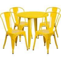 30'' Round Metal Indoor-Outdoor Table Set with 4 Cafe Chairs