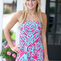 Spiral Out of Control Romper - Pink and Mint