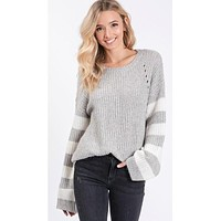 Super Soft Sweater with Wide Striped Sleeve