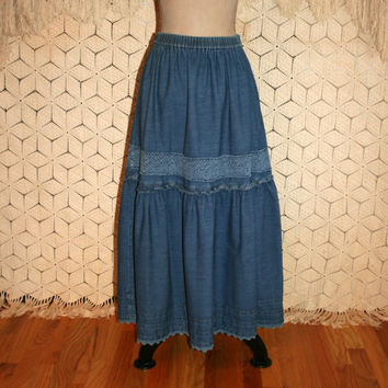 Long Denim Skirt Denim Maxi Skirt Prairie Skirt County Western Cowgirl Chic Liz Claiborne Size 8 Skirt Size 10 Skirt  Medium Womens Clothing