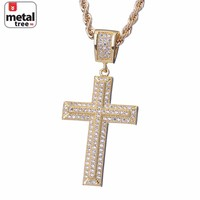 """Jewelry Kay style Men's Fashion Solid 14k Plated Gold Gods Micro Cross Pendant 24"""" Rope Chain Set"""