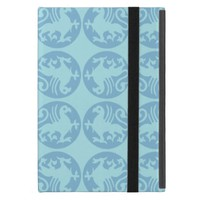 Gryphon Silhouette Pattern - Light Blue iPad Mini Cases
