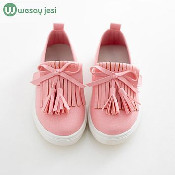 Kids shoes 2016 spring girls leather shoes princess tassel Flats children shoes girls cute sneakers for toddler girls trainers