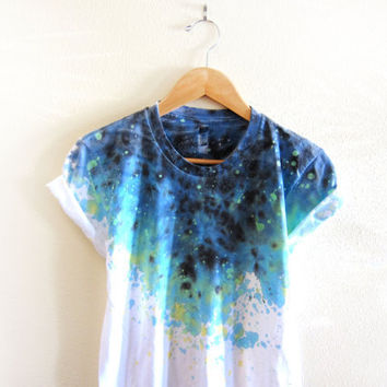 Splash Dyed Hand PAINTED Crew Neck Pinned Rolled Cuffs Tee in White Spectrum Starscape - S M L XL 2XL 3XL