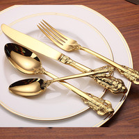 New 24 Pieces High Quality Luxury Golden Flatware Set Gold Plated Stainless steel Cutlery Set Dinner Fork Spoon Knife Tea Spoon