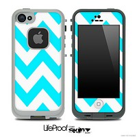 Chevron Pattern V3 Turquoise and White Skin for the iPhone 5 or 4/4s LifeProof Case