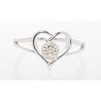925 Sterling Silver Diamond Heart  Ring - .10TCW, Size 7