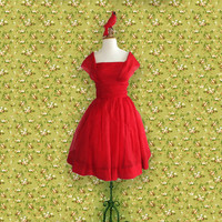 Vintage Party Dress, 50s Red Chiffon Formal Dress, Size Small