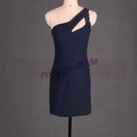 2014 short navy chiffo prom dresses with sequins,sexy sheathy gowns for homecoming party,cheap wome dress in handmade hot.