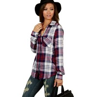 Promo-navy Plaid About You Top