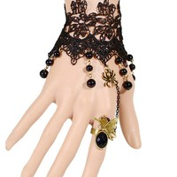 Casual Gothic Lace Spider Bracelet With Ring