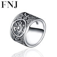 FNJ Men 925 Silver Rings Trendy Classic Dragon Tiger Suzaku basal Good Luck S925 Solid Thai Silver Ring for Women Jewelry