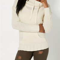 Ivory Knit Funnel Sweater