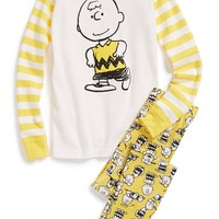 Boy's Hanna Andersson 'Peanuts - Charlie Brown' Organic Cotton Two-Piece Fitted Pajamas,