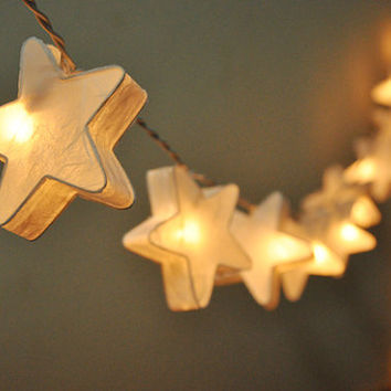 35 Bulbs Handmade White mulberry paper Stars Lanterns Garland for wedding party decoration
