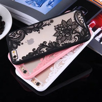 Fashion Sexy Lace Floral Paisley Flower Mandala Henna Clear Case For iphone 6 6S 7 6s 7 Plus Phone Cases Cartoon Capa Back Cover