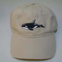 Orca Whale Embroidered on Tan Baseball Cap