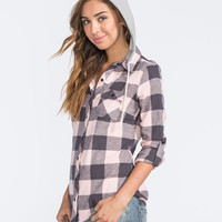 Polly & Esther Two Tone Buffalo Womens Hooded Flannel Shirt Grey Combo  In Sizes