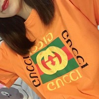 GUCCI classic orange cotton classic logo men and women with short sleeves F-CY-MN