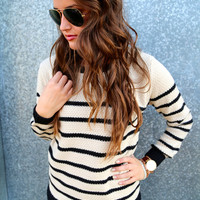 Black & Stone Striped Knit