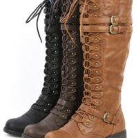 Womens Knee High Lace Up Buckle Fashion Military Combat Boots PU-Leather Riding