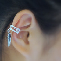 Silver Knitted Ear Cuff with Bird Feather Charm