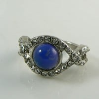 Retro Mood Ring Twist Design with Rhinestones.