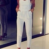 NEW WOMEN'S WHITE SEXY V STRAPLESS JUMPSUIT OVERALLS Q2 = 1933026884