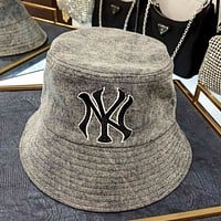 GUCCI x MLB joint embroidered NY alphabet smoke gray denim fisherman hat