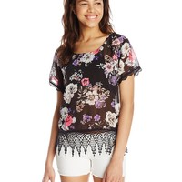 Eyeshadow Juniors' Floral-Print Top With Lace Trim