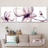 Modular Canvas HD Prints Posters Home Decor Wall Art Pictures 3 Pieces Pink flowers Art Scenery Landscape Paintings Framework