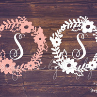 Flower Border Decal, Floral Decal, Flower Decal, Decals, Flower Border Monogram, Yeti Decal, Car Decal, Bridesmaid gift, monograms, decal,