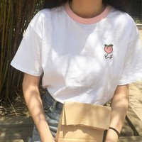 2018 Summer Fashion Harajuku Japanese Fruit Embroidery College Wind stitching Contrast loose loose-sleeved female t-shirt