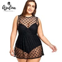 AZULINA Plus Size Swimwear Polka Dot One Piece Swimsuit Vintage Swimwear Women Push Up Bathing Suit Retro Large Size Swimsuit