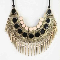 Spiked Bib Necklace- Black One