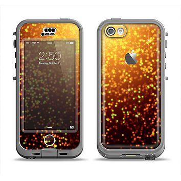 The Bright Gold Glowing Sparks Apple iPhone 5c LifeProof Nuud Case Skin Set