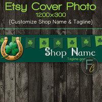 Etsy Shop Cover Photo 1200x300, Premade St. Patrick's Day Design, Good Luck Horseshoe, Customize Shop Name, Looks Great on Mobile Devices